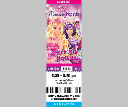Cherish Moments  Concert Ticket Birthday Invitations